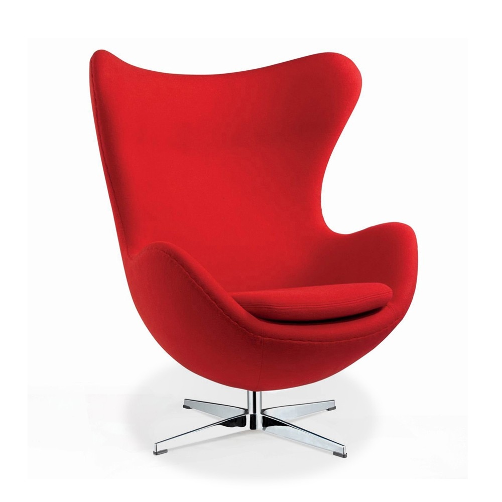 arne jacobson style egg chair in red wool artis d cor. Black Bedroom Furniture Sets. Home Design Ideas