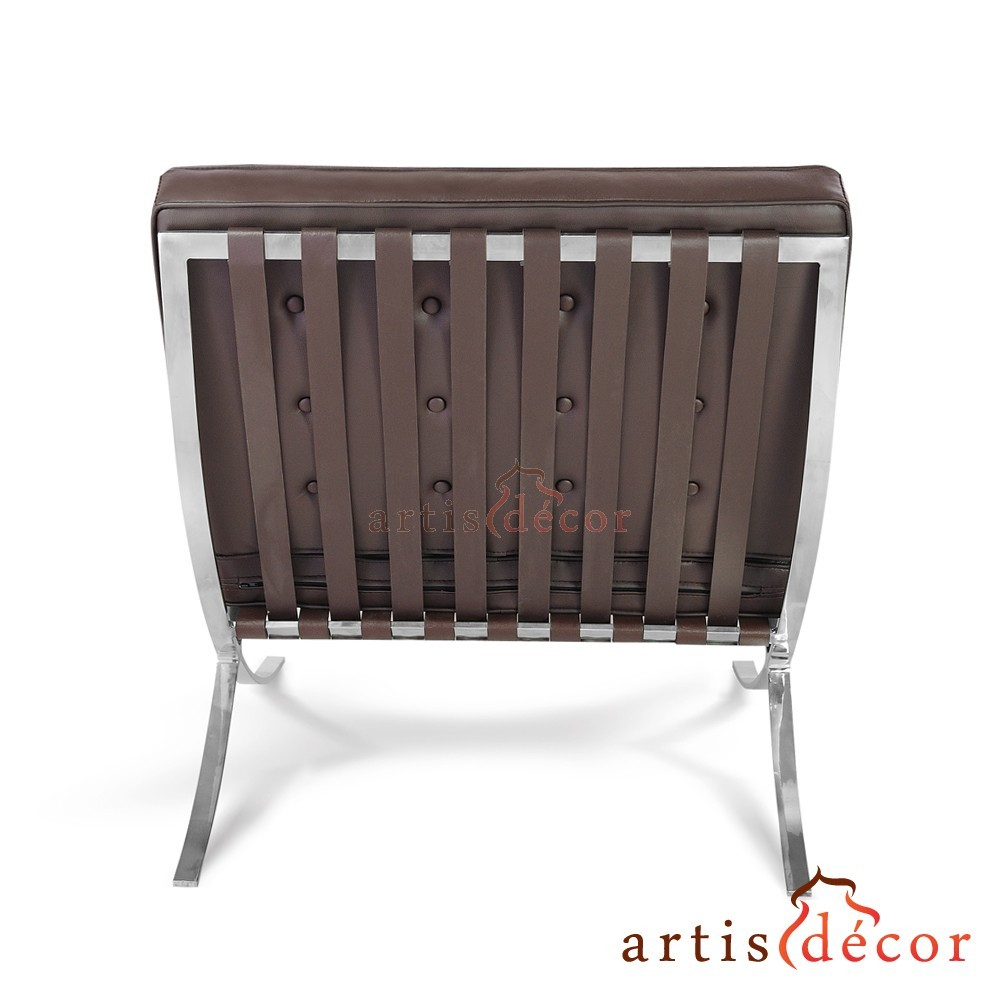 Barcelona chair back -  Premium Lounge Chair Ottoman Brown Aniline Leather