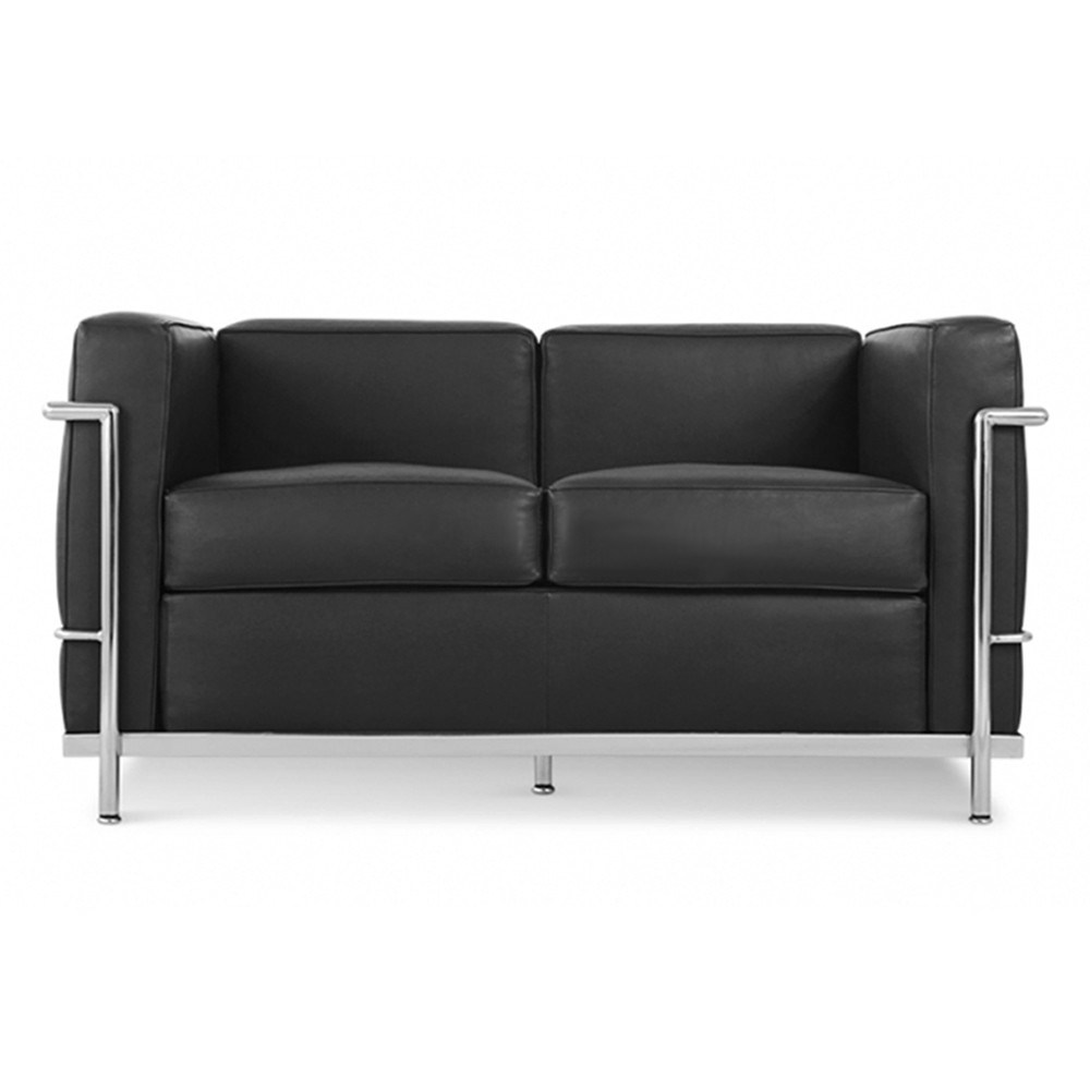 black italian leather - Black Leather Loveseat