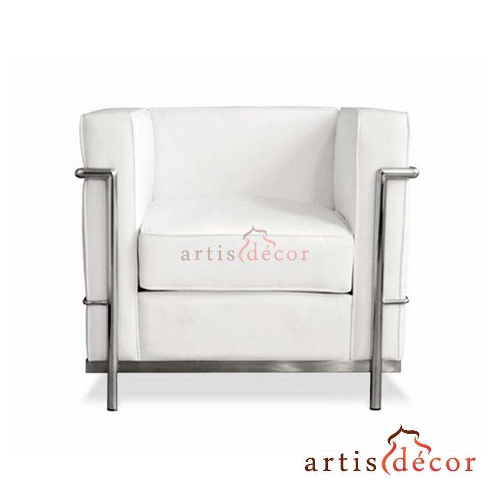 Fabulous Le Corbusier Lc2 Chair Sofa White Leather Artis Decor Pdpeps Interior Chair Design Pdpepsorg