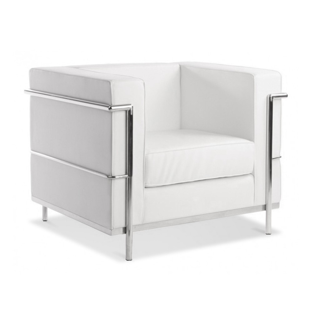 le corbusier lc2 chair sofa white leather artis d cor. Black Bedroom Furniture Sets. Home Design Ideas