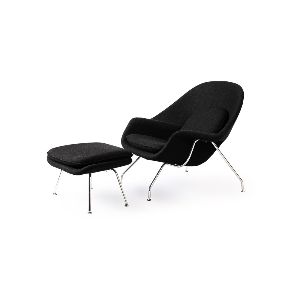 womb chair and ottoman premium cashmere woolblack wool - Womb Chair