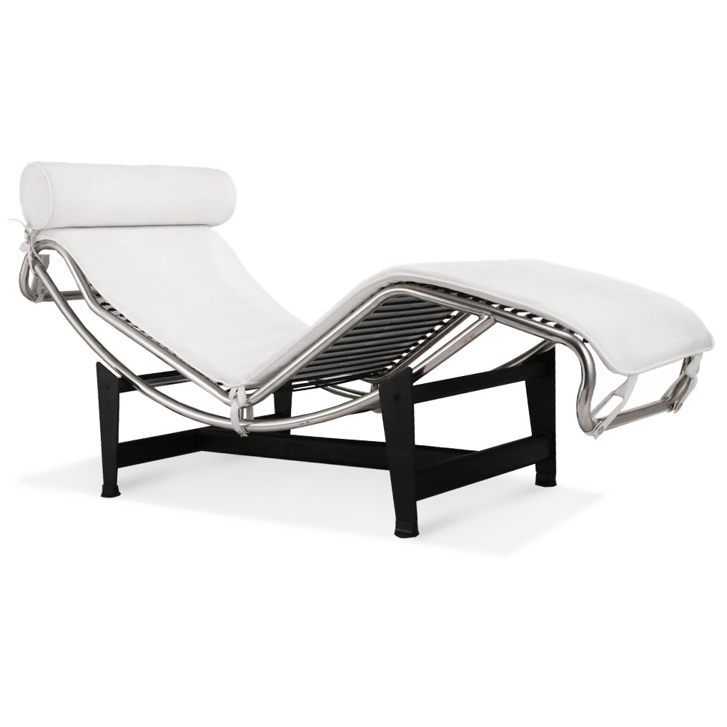 Attrayant LC4 Chaise Lounge   Premium White Top Grain Leather