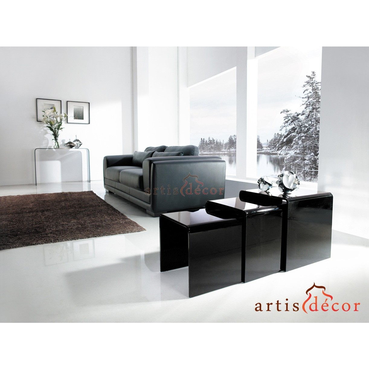 Nest of 3 Bent Clear Glass Side Coffee Tables - Black Three Corner ...