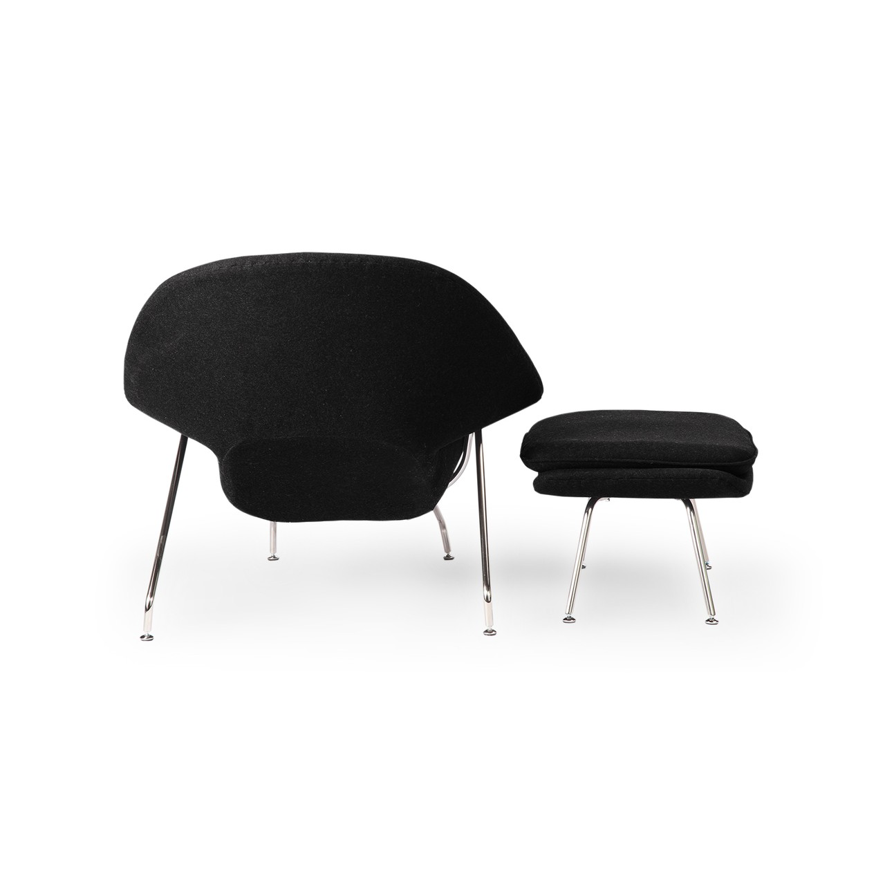 womb chair and ottoman premium cashmere woolblack wool