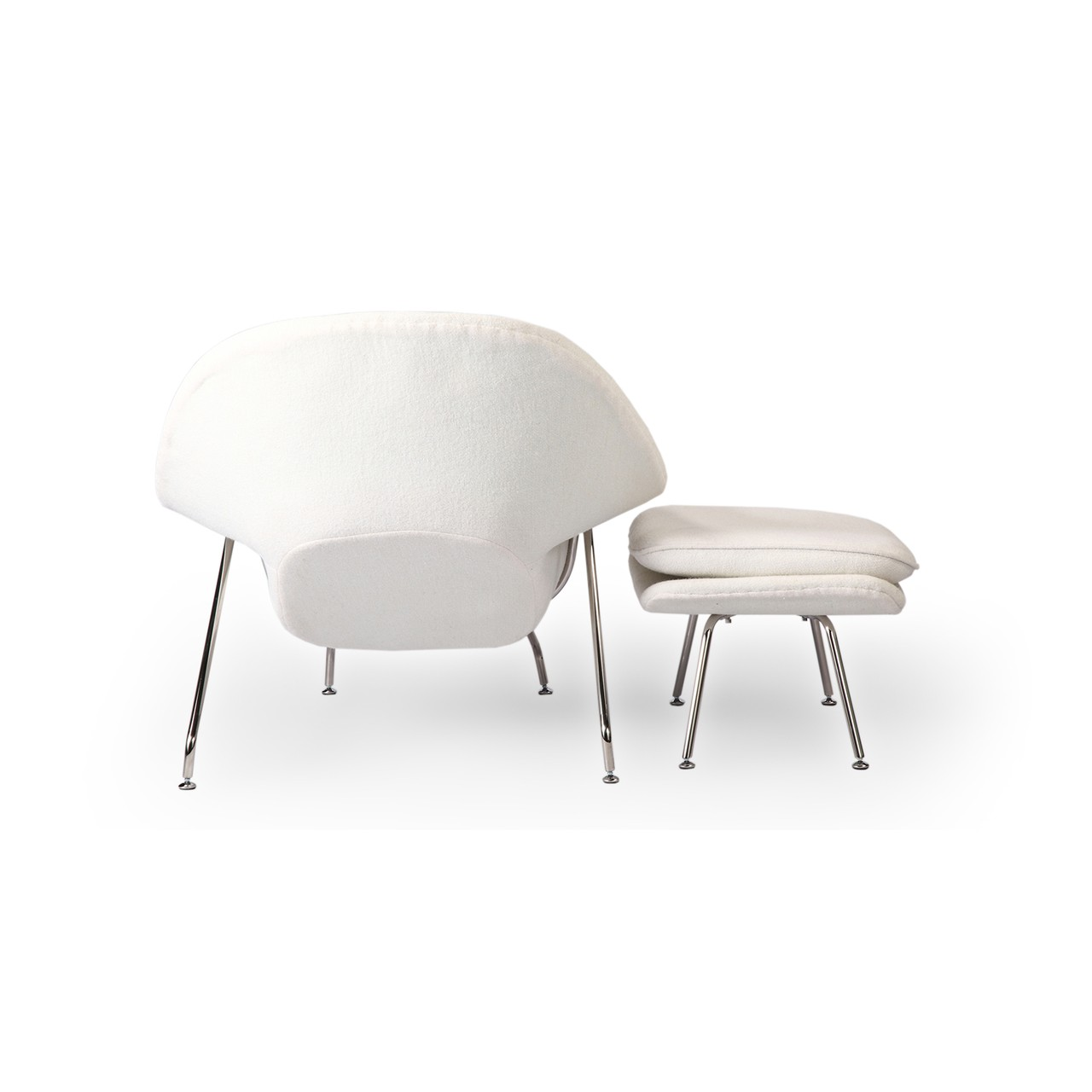 womb chair and ottoman premium cashmere woolwhite wool
