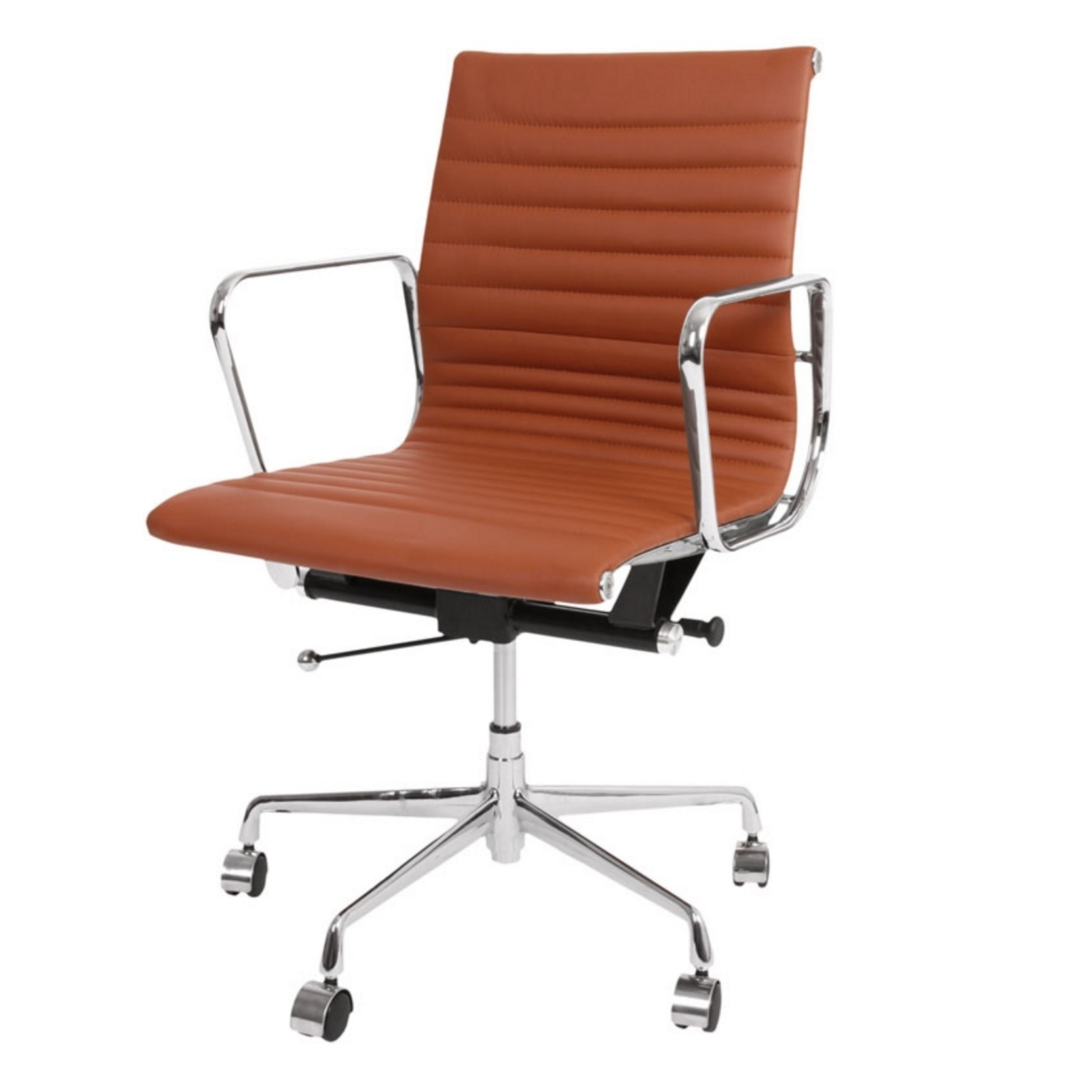 Tan leather office chair -  Mid Back Aluminum Office Chair White Italian Leather