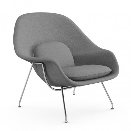 Womb Chair and Ottoman - Premium Cashmere Wool-Grey Wool