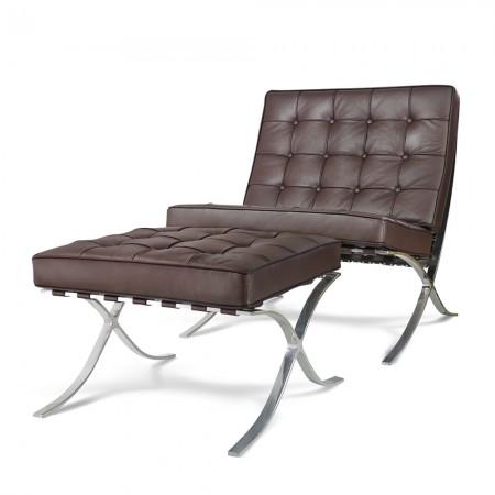 Premium Lounge Chair & Ottoman - Brown Aniline Leather