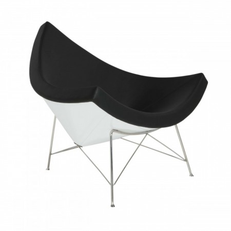 Coconut Lounge Chair - Premium Cashmere Wool with Fiberglass Shell-Black Wool
