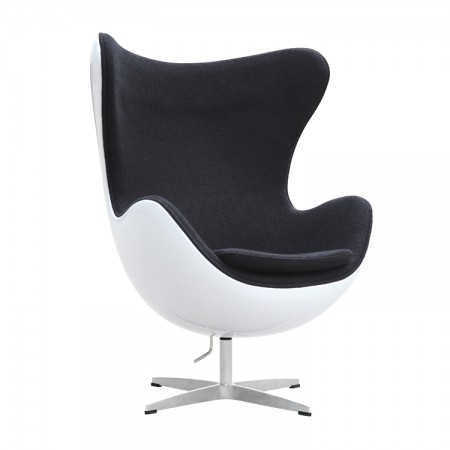 Egg Chair - Premium Cashmere Wool with White Shell - Black Wool