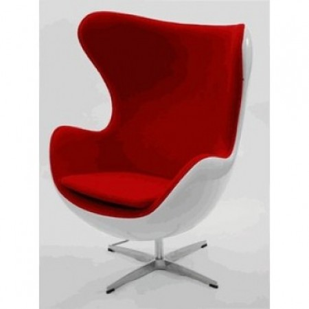 Egg Chair   Premium Cashmere Wool With White Shell Red Wool
