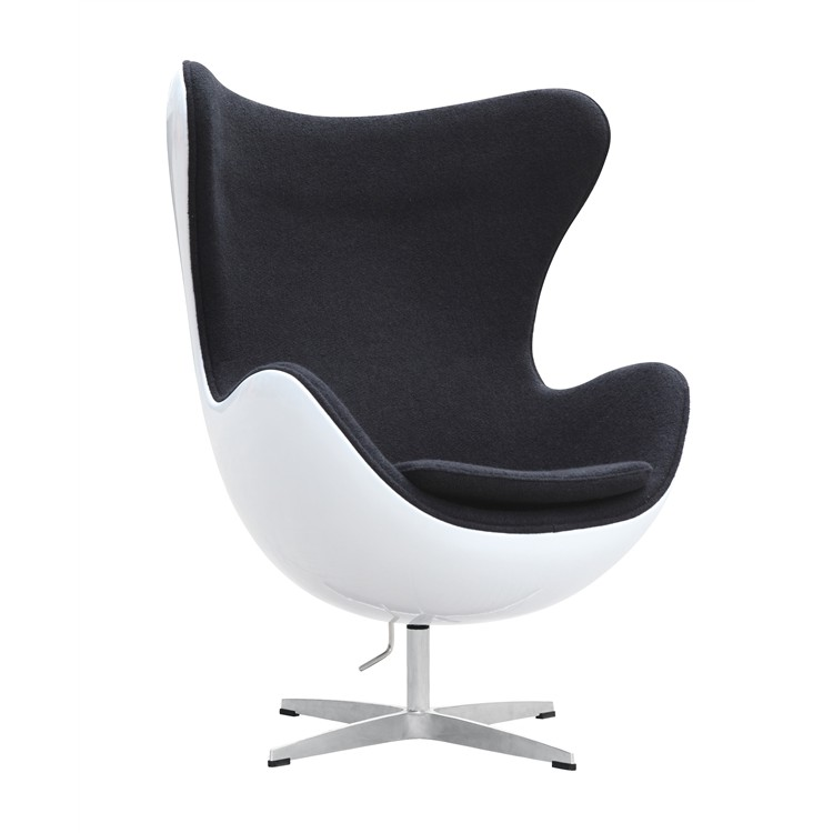 Egg Chair   Premium Cashmere Wool With White Shell   Black Wool