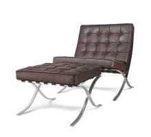 Premium Lounge Chair & Ottoman - Brown Top Grain Leather