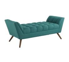 Response Medium Upholstered Fabric Bench Teal