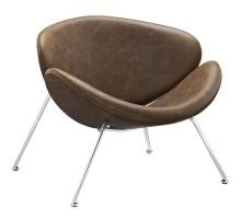 Nutshell Upholstered Vinyl Lounge Chair Brown
