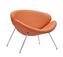 Nutshell Upholstered Vinyl Lounge Chair Orange