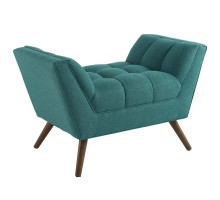 Response Upholstered Fabric Ottoman Teal