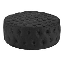 Amour Upholstered Vinyl Ottoman Black