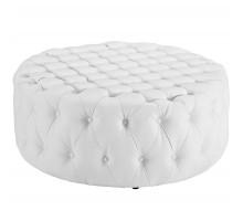 Amour Upholstered Vinyl Ottoman White