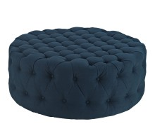 Amour Upholstered Fabric Ottoman Azure