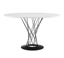 Cyclone Round Wood Top Dining Table White