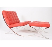 Premium Lounge Chair & Ottoman - Red Leather