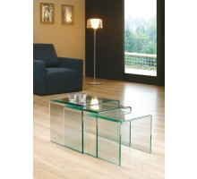 3 Nested Coffee Side Tables - Clear Glass