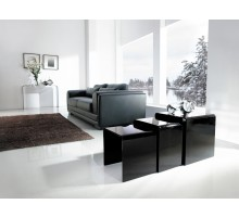 3 Nested Coffee Side Tables - Black Glass