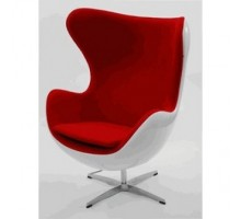 Egg Chair - Premium Cashmere Wool with White Shell-Red Wool