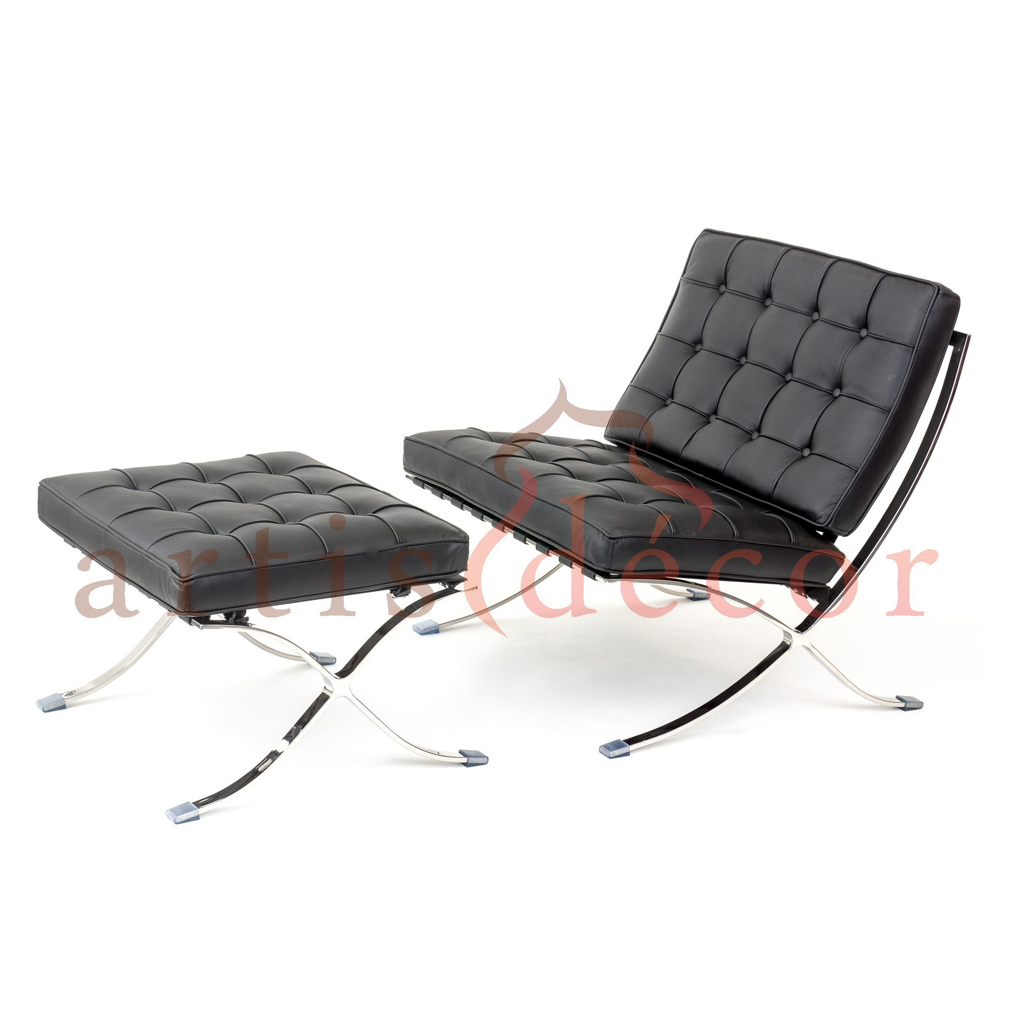 Premium Lounge Chair and Ottoman-Black-Chair and Ottoman