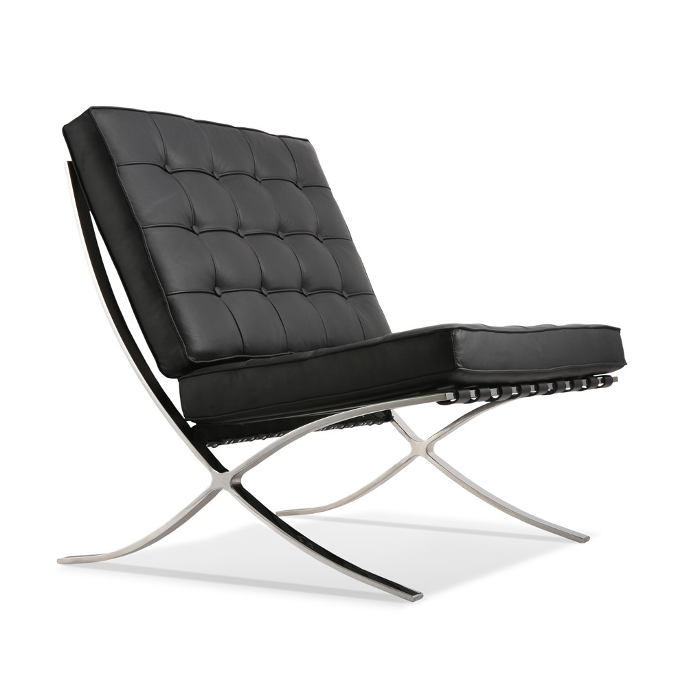 Black leather chair and ottoman - Premium Lounge Chair And Ottoman Black Aniline