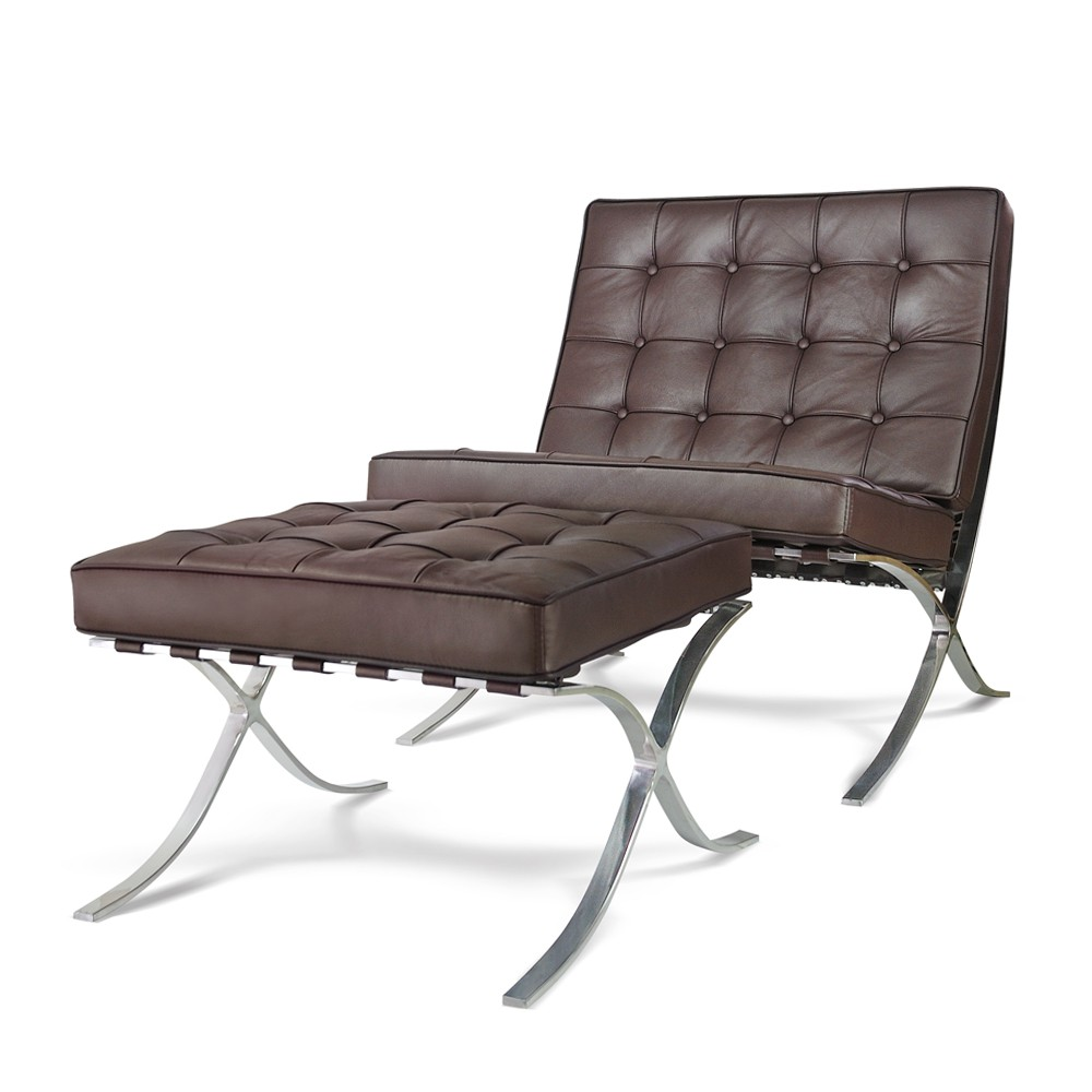 Premium Lounge Chair U0026 Ottoman   Brown Top Grain Leather