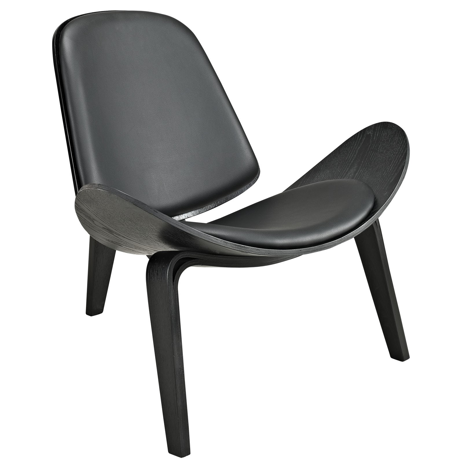 Arch Vinyl Lounge Chair-Black Black