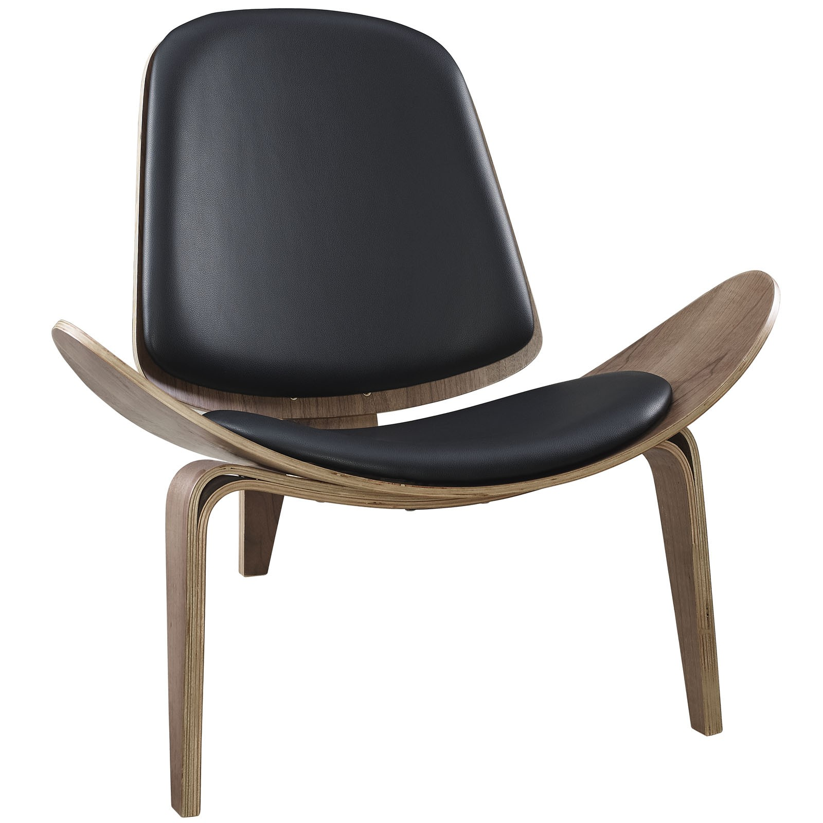 Arch Vinyl Lounge Chair-Walnut Black