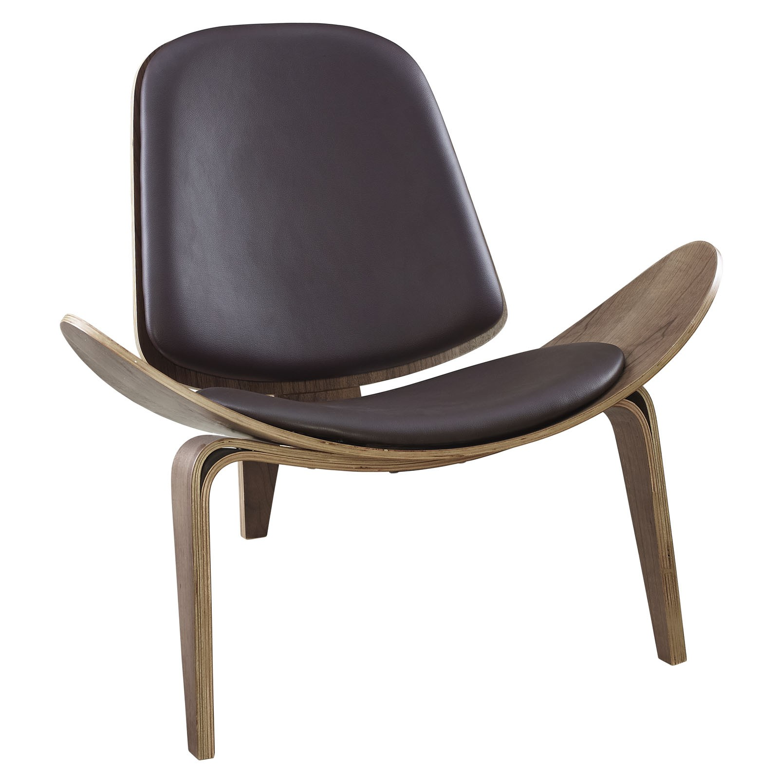 Arch Vinyl Lounge Chair-Walnut Brown