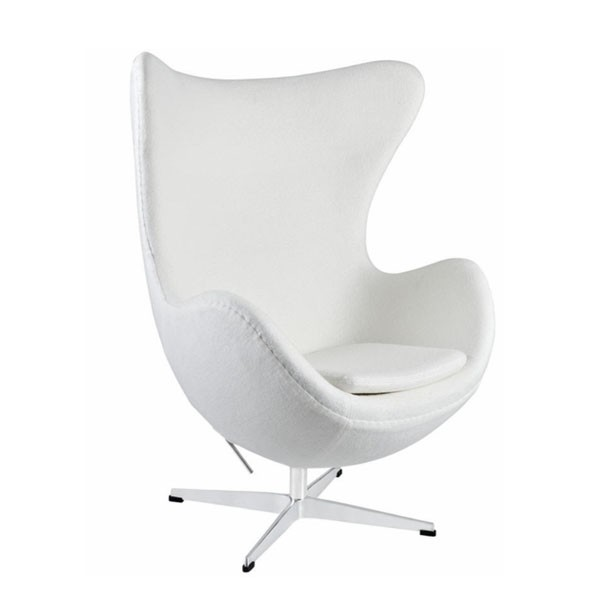 Egg Chair White Premium Cashmere Wool