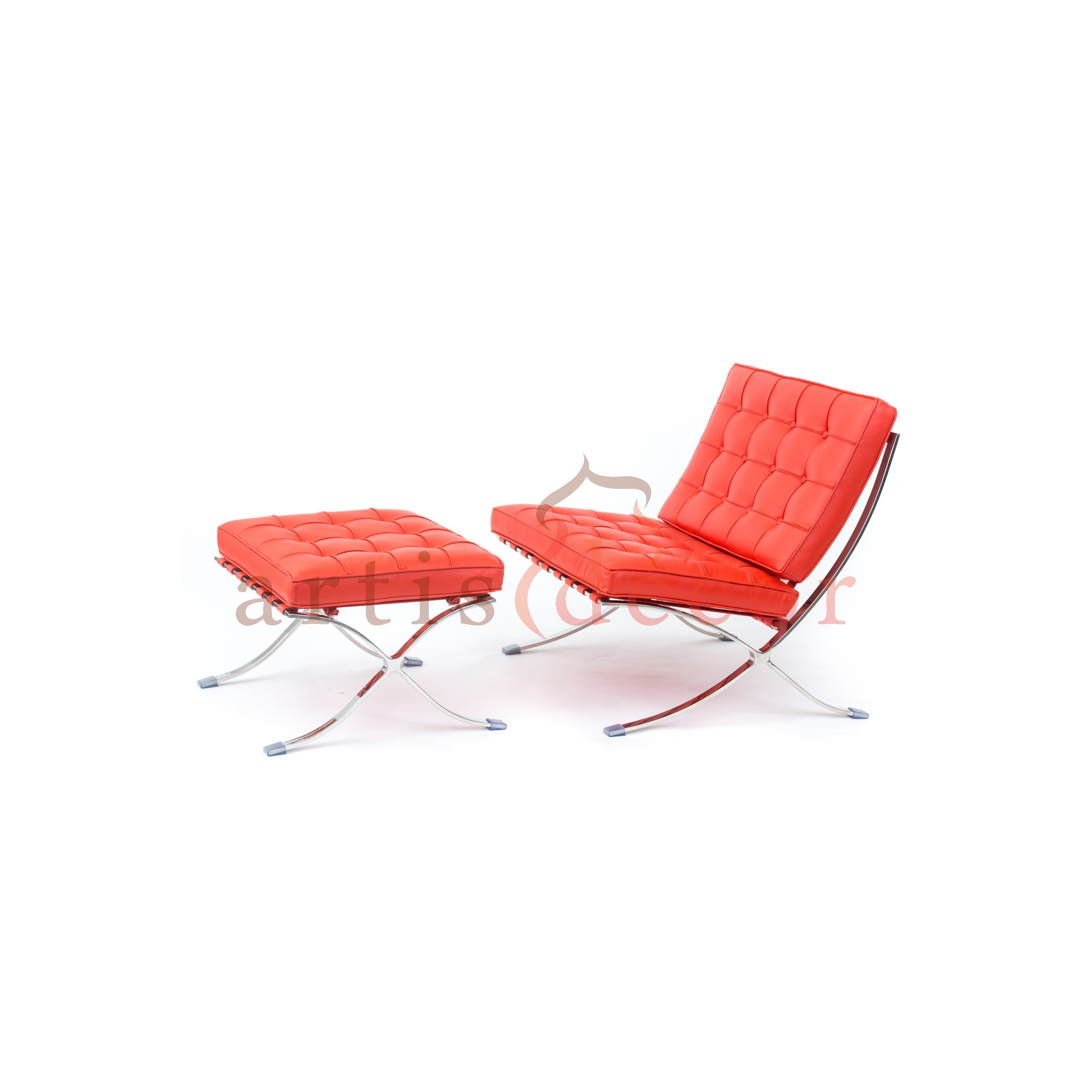 Premium Lounge Chair and Ottoman-Red-Chair and Ottoman