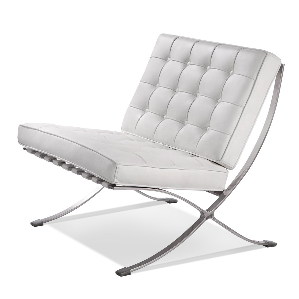 Premium Lounge Chair and Ottoman-White-Chair Only