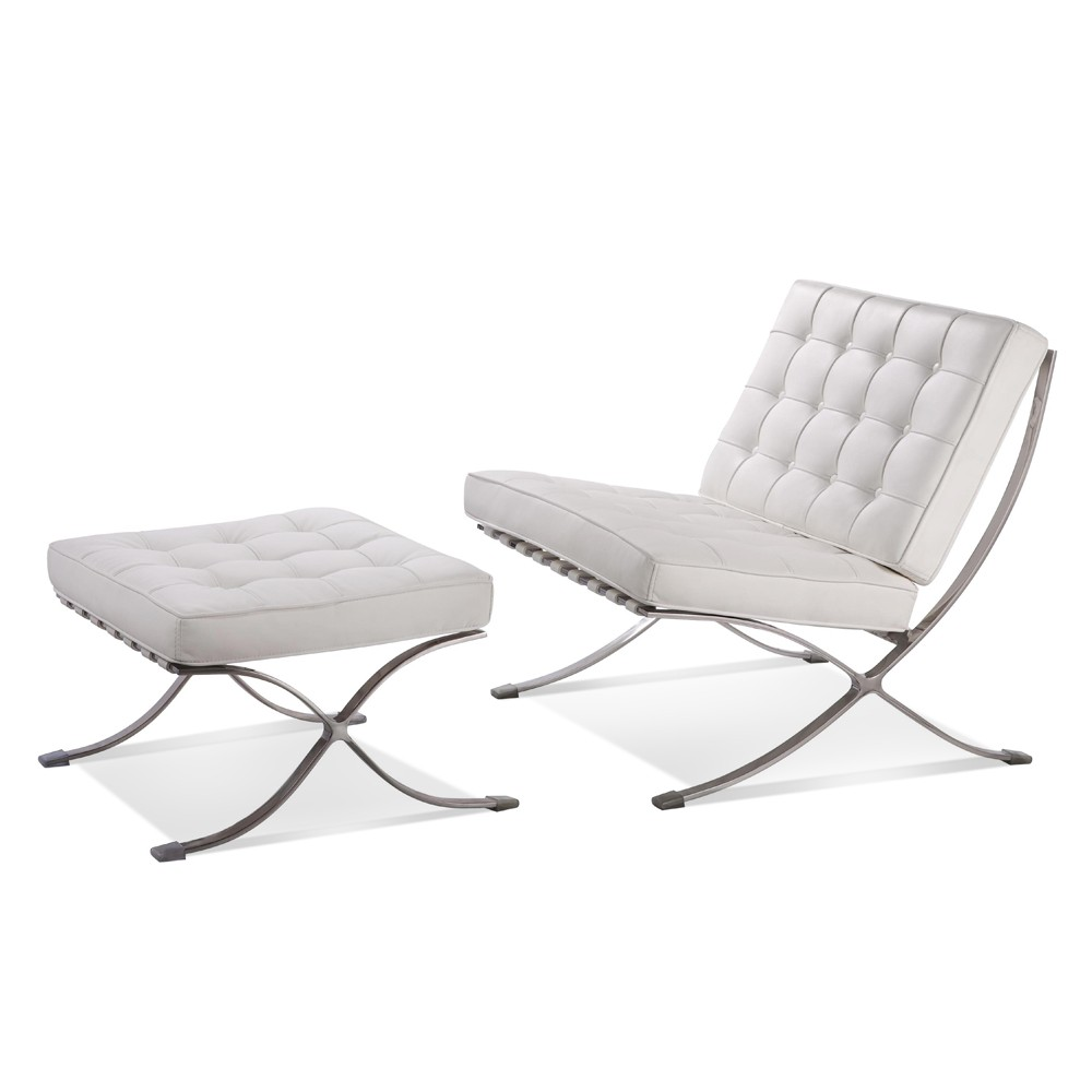 Premium Lounge Chair and Ottoman-White-Chair and Ottoman