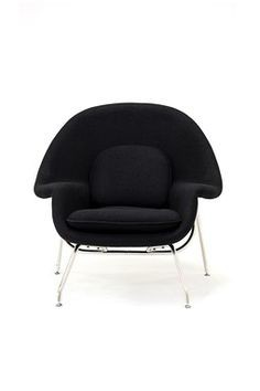 Womb Chair and Ottoman - Premium Cashmere Wool-Black Wool